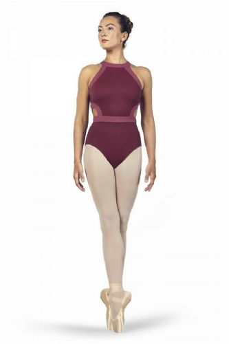 BLOCH Ladies Dance High Neckline Open Back Leotard Shreya L4975 Dewberry Pink